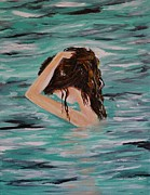 Lady In Lake Painting Posters - Envy Of Water Poster by Leslie Allen