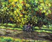 Greeting Cards Pastels Prints - Eoin Miraim And Cian In Botanic Gardens Print by John  Nolan