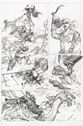 Lord Drawings Metal Prints - Eowyn vs. Nazgul pg 1 Metal Print by Storn Cook