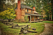 Log Cabin Art Prints - Ephraim Vause Home Print by Mary Timman