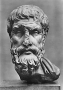 Statue Portrait Photo Prints - Epicurus (342?-270 B.c.) Print by Granger