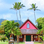 Kamuela Paintings - Episcopal Church in Kapaa by Dominic Piperata