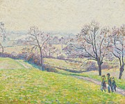 1893 (oil On Canvas) Framed Prints - Epping landscape Framed Print by Camille Pissarro
