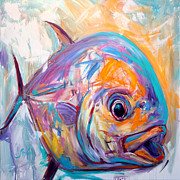 Fly Fishing Art Print Posters - Epressionist Permit - Contemporary Art Poster by Mike Savlen
