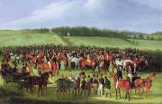 Carriage Horses Paintings - Epsom Races - The Betting Post by James Pollard