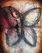 Red Photo Originals - EQUATIONS Butterfly Painting by Heather Offord