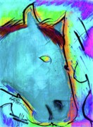Equestrian Artist Digital Art - Equestrian Curves code blue by Angelo Robinson