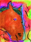 Equestrian Artist Digital Art - Equestrian Curves the Peter Max edition by Angelo Robinson