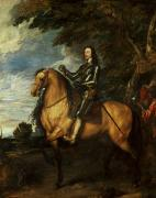 Sir Charles Posters - Equestrian Portrait of Charles I  Poster by Sir Anthony van Dyck