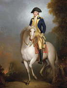 Laid Metal Prints - Equestrian portrait of George Washington Metal Print by Rembrandt Peale