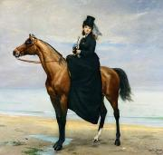 Side Saddle Framed Prints - Equestrian Portrait of Mademoiselle Croizette Framed Print by Charles Emile Auguste Carolus Duran