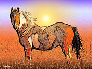 Horse Stable Mixed Media Posters - Equestrian Sunset Poster by Stephen Younts