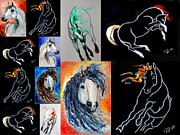 Horse Images Framed Prints - Equine Spirit - collage 1 Framed Print by Tarja Stegars