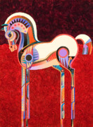 Stylized Art Prints - Equus VI Print by Bob Coonts