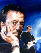 Guitarists Paintings - Eric Clapton Blues Lake by Ken Meyer jr