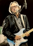 Blues Drawings Posters - Eric Clapton Poster by Chris Benice