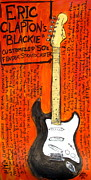 Guitars Paintings - Eric Claptons Stratocaster Blackie by Karl Haglund