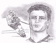 Flyers Hockey Drawings - Eric Lindros by Chris  DelVecchio