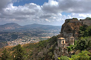 Erice Framed Prints - Erice Castle Sicily Framed Print by Anik Messier