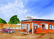 57 Chevy Painting Framed Prints - Ericksons Drive Inn Framed Print by Rich Stedman