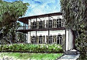 Key West Drawings - Ernest Hemingway House in Key West by Paul Piasecki
