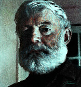Print On Canvas Prints - Ernest Hemingway Print by John Travisano