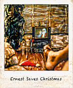 Old Tv Framed Prints - Ernest Saves Christmas Framed Print by Lou  Novick