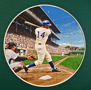Baseball Portraits Mixed Media Posters - Ernie Banks Poster by Cliff Spohn