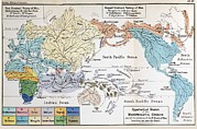 Origin Posters - Ernst Haeckel Map Lemuria Human Origins Poster by Paul D Stewart