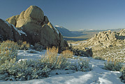 Owens Valley Art - Eroded Granite Boulders Overlook Owens by Gordon Wiltsie