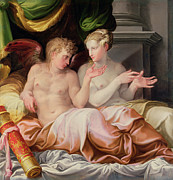 Mannerist Posters - Eros and Psyche Poster by Niccolo dell Abate