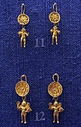 Ancient Greek Jewelry Prints - Erotes earrings Print by Andonis Katanos