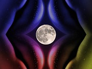 Kiss Mixed Media Prints - Erotic Moonlight Print by Stefan Kuhn