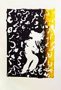 Serigraph Originals - Erotic Scapegoat from Azazel Hell Satan Devil in Purple and Yellow Serigraph Swirls Holding Breasts by M Zimmerman