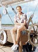Candid Portraits Prints - Errol Flynn Relaxing On His Yacht, Ca Print by Everett