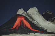 Flowing Lava Posters - Eruption Of Natrocarbonatite Lava Flows Poster by Richard Roscoe