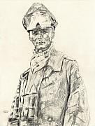 Officer Drawings Framed Prints - Erwin Rommel Framed Print by Dennis Larson
