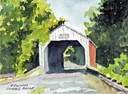 Covered Bridge Painting Metal Prints - Erwina Covered Bridge Bucks County PA Metal Print by Paul E Temple