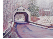 Covered Bridge Painting Metal Prints - Erwinna Covered Bridge Metal Print by Bonita Waitl
