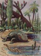 National Geographic Society Art Prints - Eryops Were The Highest Type Of Life Print by Charles R. Knight