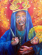Black Madonna Paintings - Erzulie Dantor Portrait by Christy  Freeman