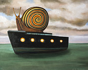 Snail Paintings - Es Cargo work in progress by Leah Saulnier The Painting Maniac
