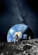 The First Man On The Moon Prints - Esa Lunar Exploration, Artwork Print by Detlev Van Ravenswaay
