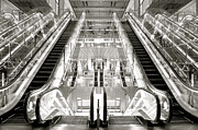 Escalator Framed Prints - Escalator Framed Print by Celine Ramoni