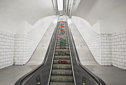 Graffiti Steps Prints - Escalator Down To An Underground Metro Print by Marlene Ford