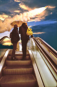 Escalator Prints - Escalator Print by Larry Mulvehill