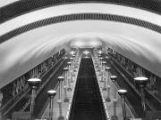 Lifts Framed Prints - Escalators In A Tube Station Framed Print by Maynard Owen Williams