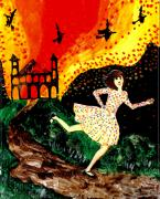 Flying Ceramics Posters - Escape from the burning house Poster by Sushila Burgess