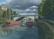 Realist Art Posters - Escaping the Storm North Parade Bridge Bath Poster by Richard Harpum