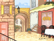 Water Way Paintings - Espanola Cafe by Karen-Lee